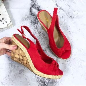 NEW Seychelles Red Velvet Knot Canvas Cork Sandals
